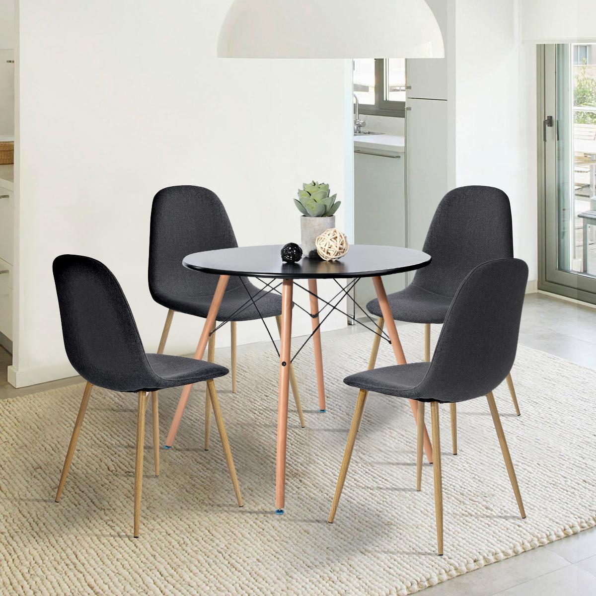 Table Salle à Manger Ronde 2 à 4 Personnes Pieds En Bois Style Scandinave ø80x H71cm Plateau Coloris Noir