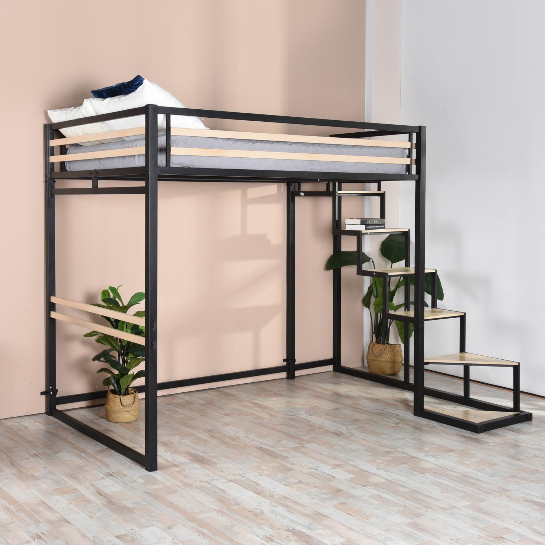 furnish1 lit mezzanine adulte avec échellemétal noir et